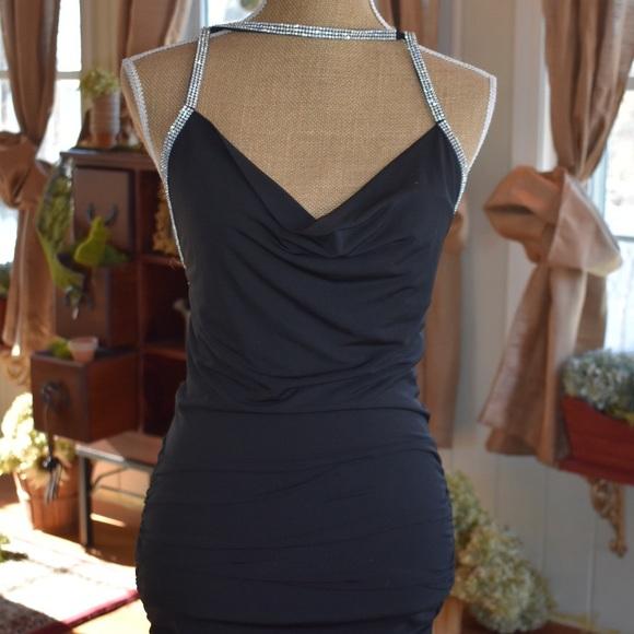 Forever 21 Dresses Sexy Black Mini Dress With Rhinestone Straps